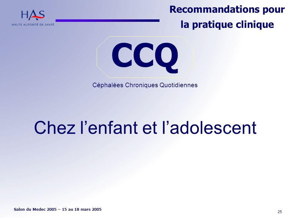 CCQ Céphalées Chroniques Quotidiennes