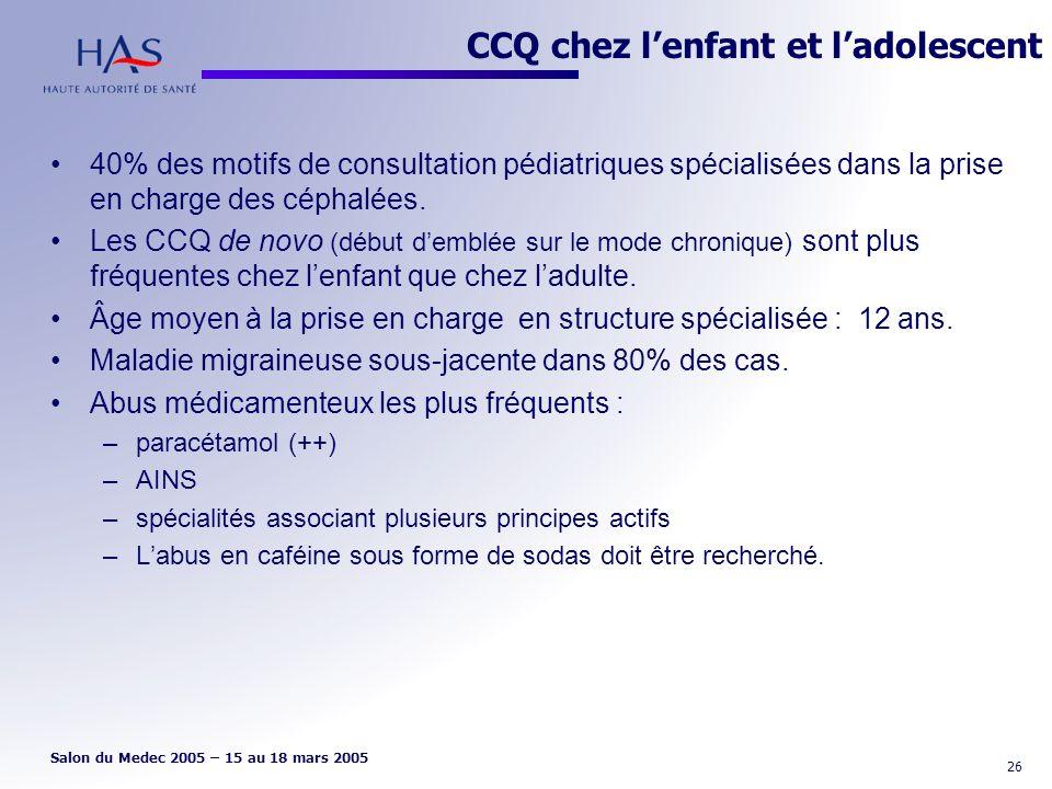 CCQ chez l'enfant et l'adolescent