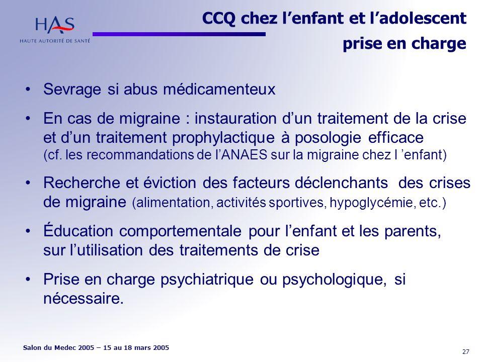 CCQ chez l'enfant et l'adolescent prise en charge