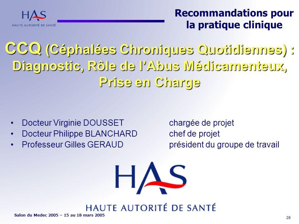Recommandations pour la pratique clinique