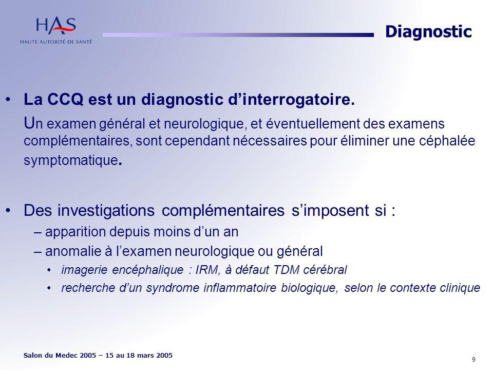 La CCQ est un diagnostic d'interrogatoire.