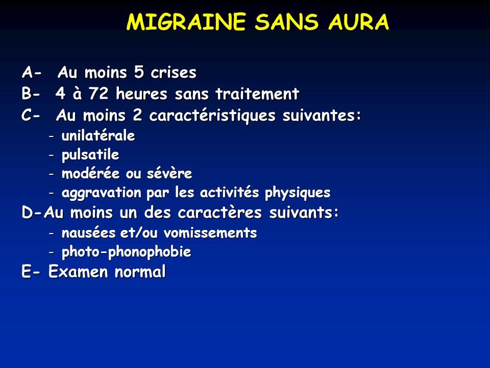 MIGRAINE SANS AURA A- Au moins 5 crises