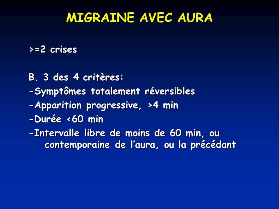 MIGRAINE AVEC AURA >=2 crises B. 3 des 4 critères: