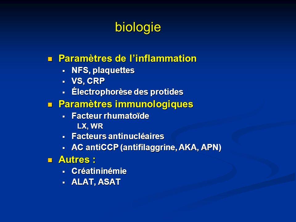 biologie Paramètres de l'inflammation Paramètres immunologiques