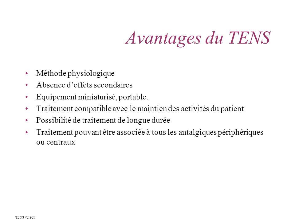 Avantages du TENS Méthode physiologique Absence d'effets secondaires