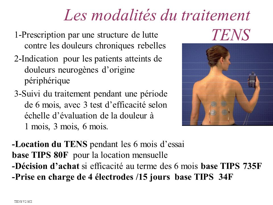 Les modalités du traitement TENS