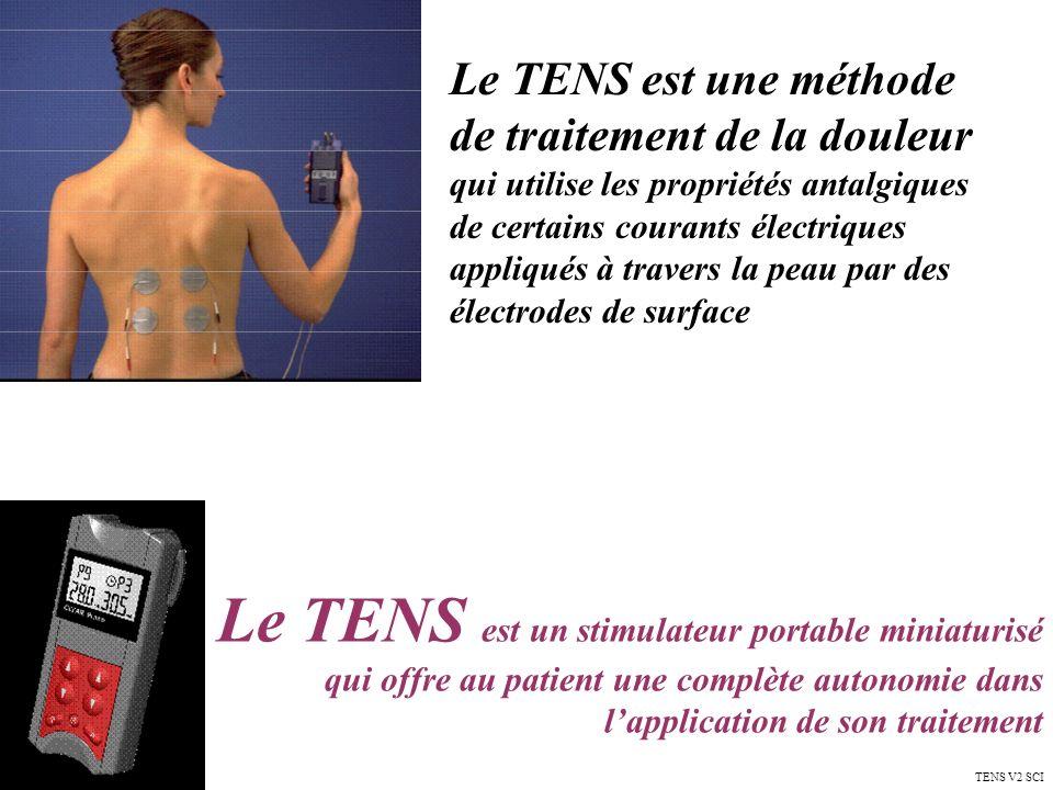 Le TENS est une méthode de traitement de la douleur qui utilise les propriétés antalgiques de certains courants électriques appliqués à travers la peau par des électrodes de surface