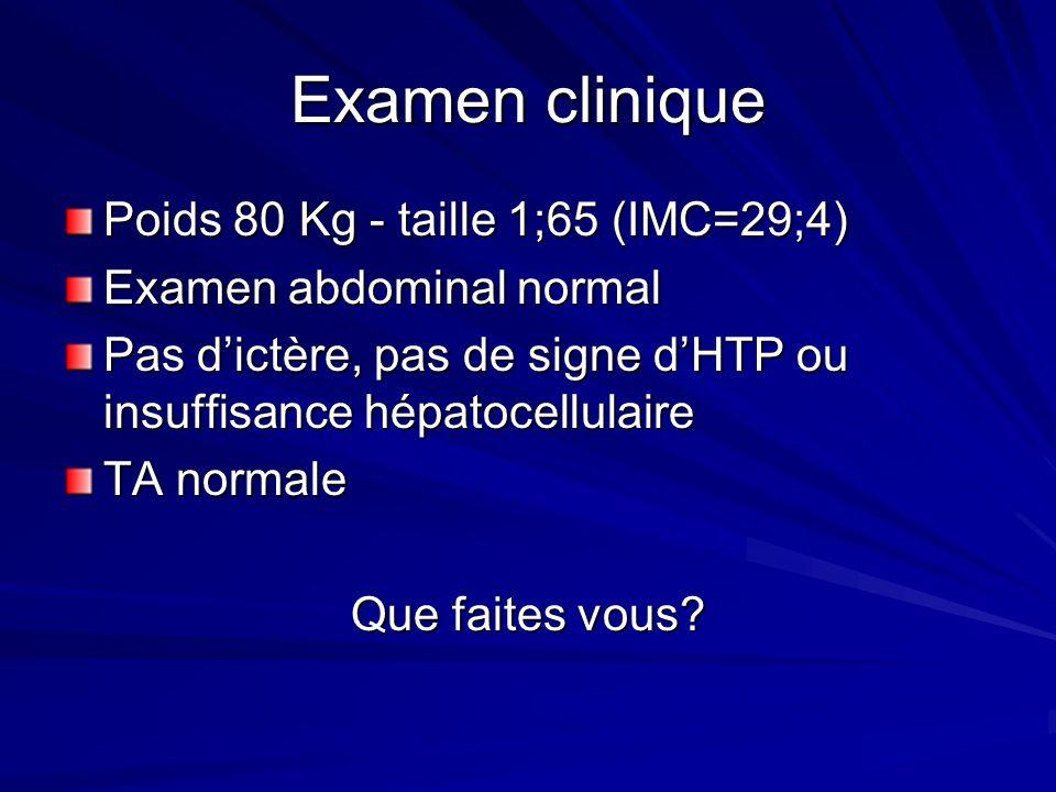 Examen clinique Poids 80 Kg - taille 1;65 (IMC=29;4)