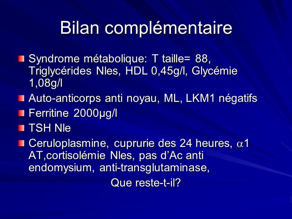Bilan complémentaire Syndrome métabolique: T taille= 88, Triglycérides Nles, HDL 0,45g/l, Glycémie 1,08g/l.