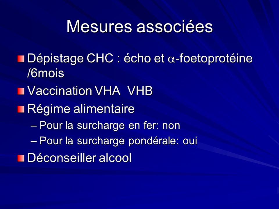 Mesures associées Dépistage CHC : écho et -foetoprotéine /6mois