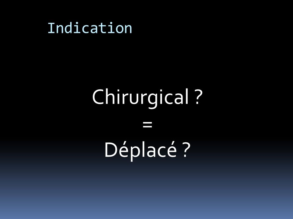 Indication Chirurgical = Déplacé