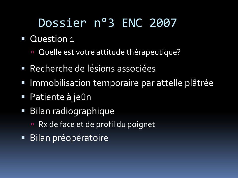 Dossier n°3 ENC 2007 Question 1 Recherche de lésions associées