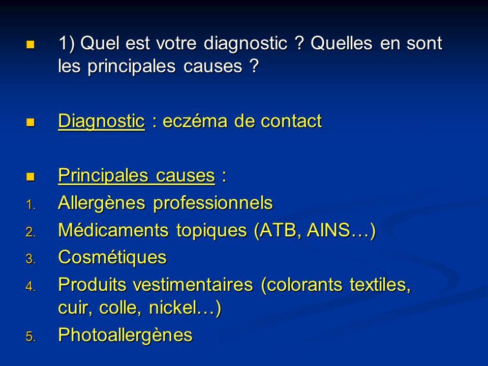 1) Quel est votre diagnostic Quelles en sont les principales causes