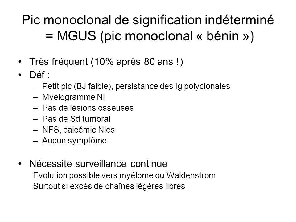 Pic monoclonal de signification indéterminé = MGUS (pic monoclonal « bénin »)