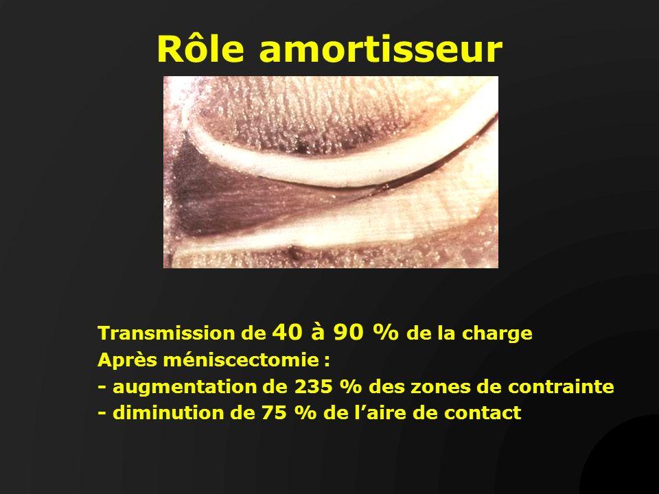 Rôle amortisseur Transmission de 40 à 90 % de la charge