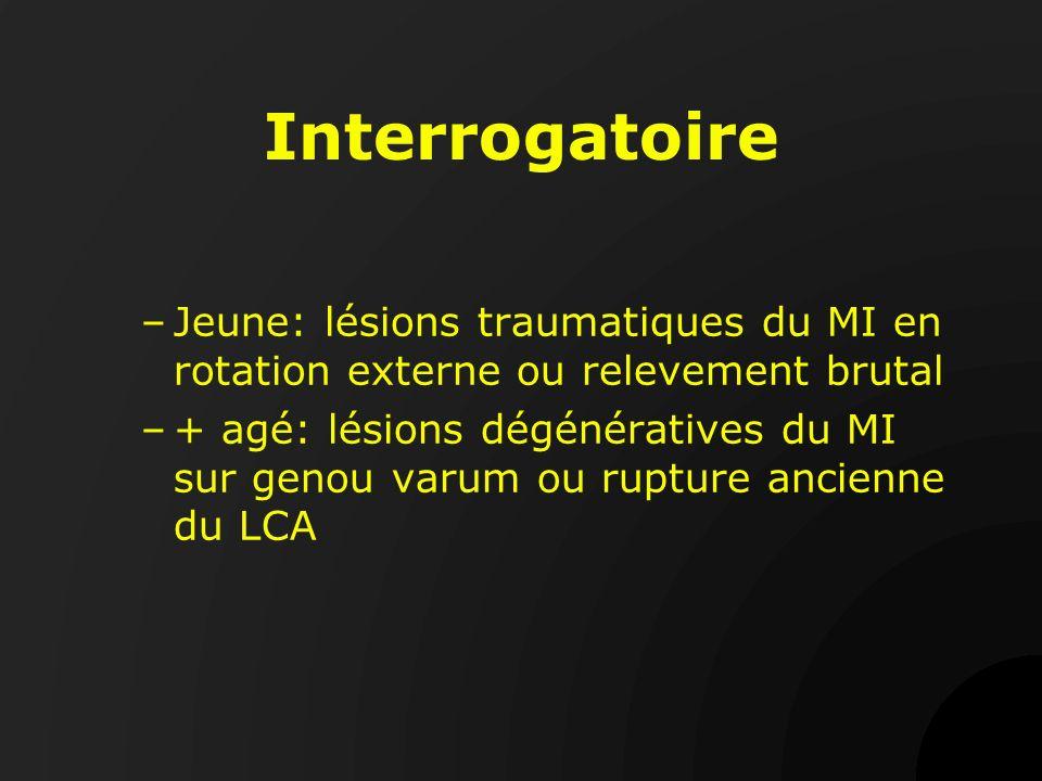Interrogatoire Jeune: lésions traumatiques du MI en rotation externe ou relevement brutal.