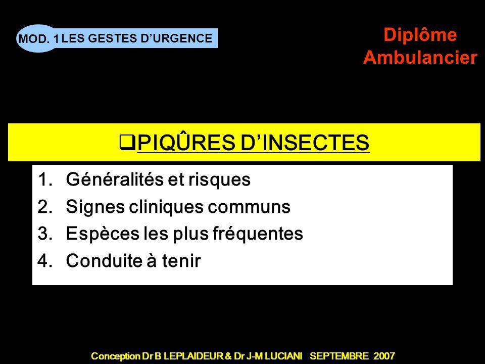 PIQÛRES D'INSECTES Généralités et risques Signes cliniques communs