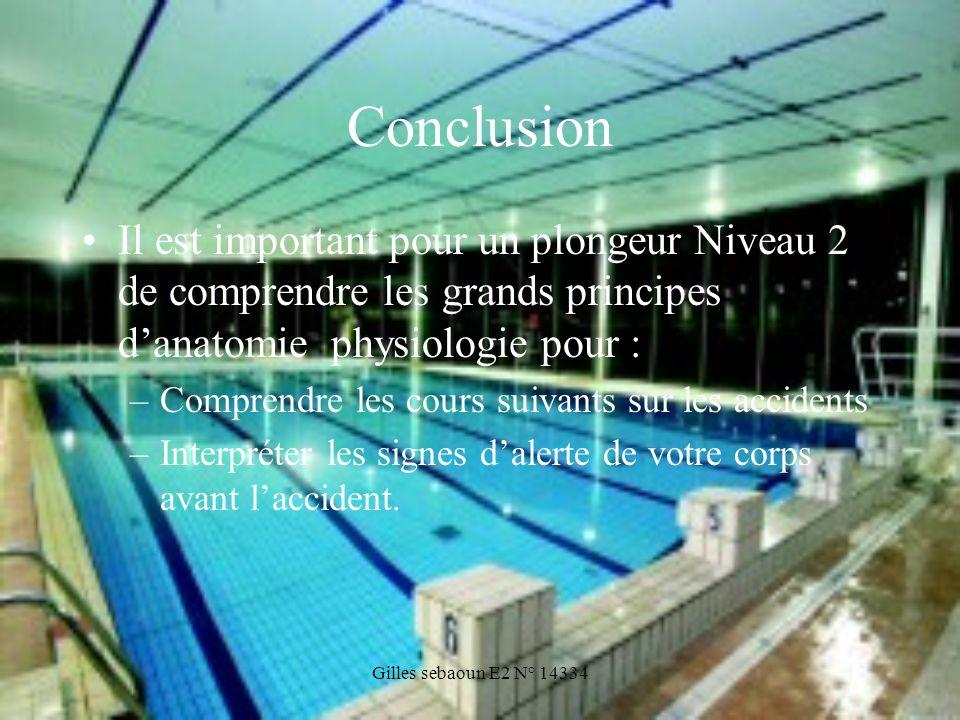 Conclusion Il est important pour un plongeur Niveau 2 de comprendre les grands principes d'anatomie physiologie pour :