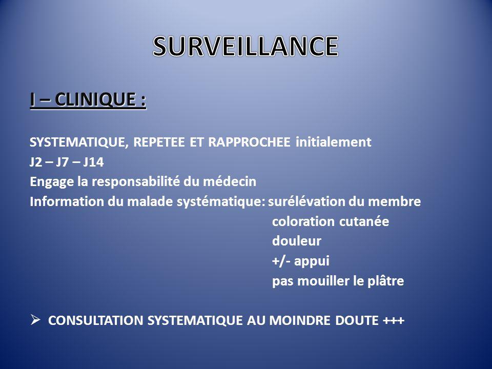 SURVEILLANCE I – CLINIQUE :