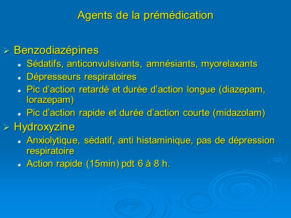 Agents de la prémédication