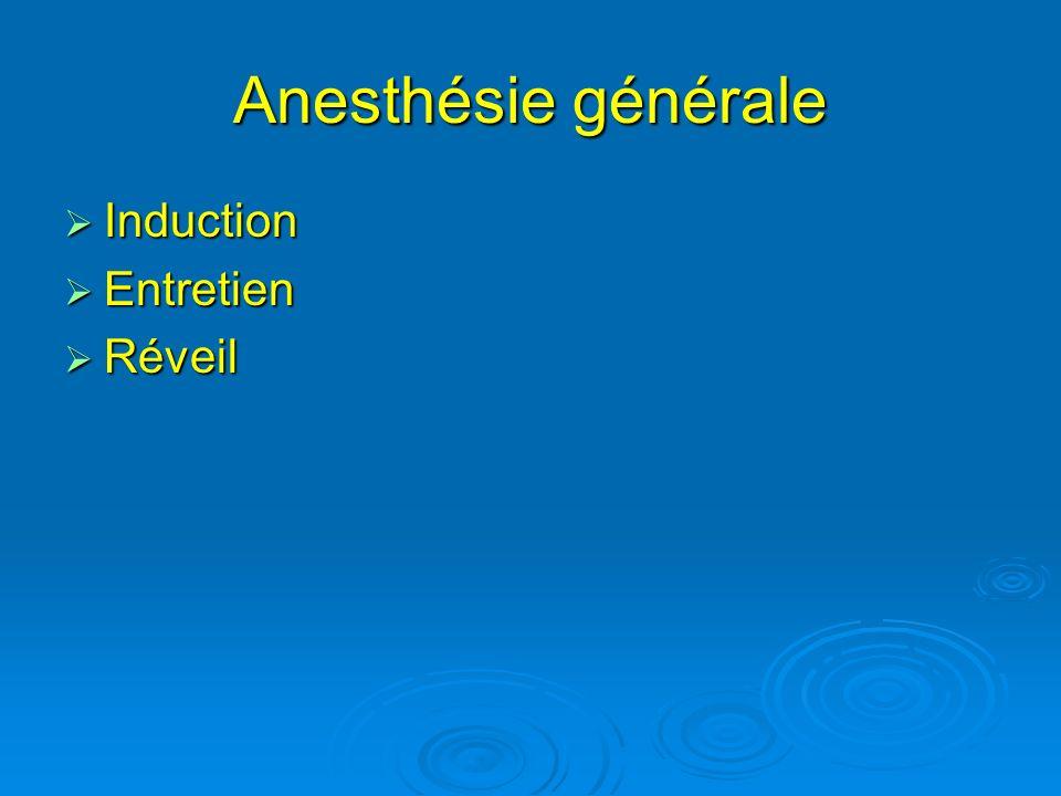 Anesthésie générale Induction Entretien Réveil