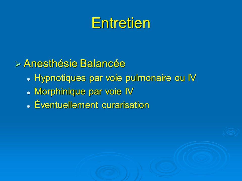 Entretien Anesthésie Balancée Hypnotiques par voie pulmonaire ou IV