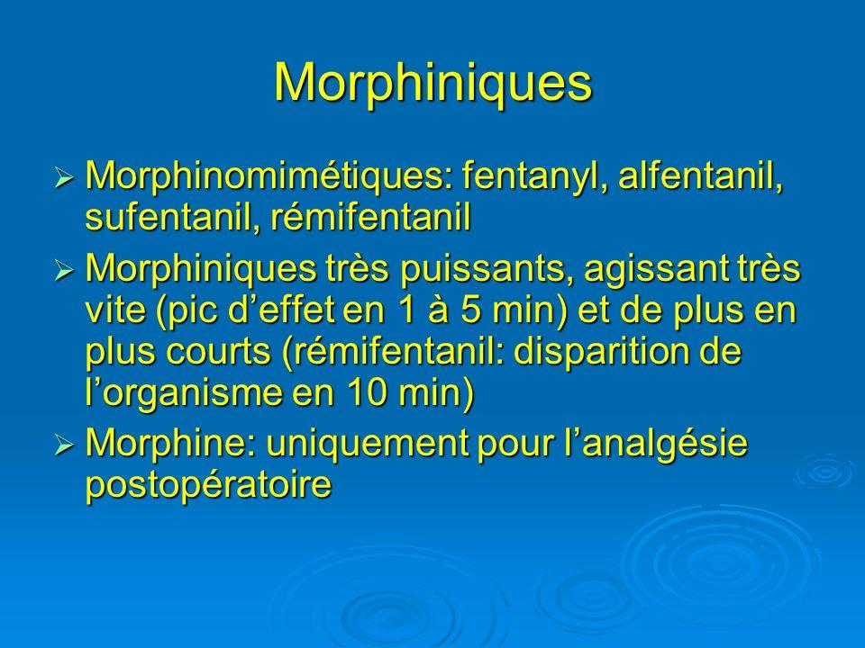 Morphiniques Morphinomimétiques: fentanyl, alfentanil, sufentanil, rémifentanil.