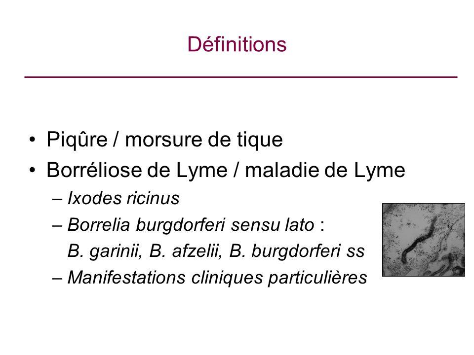 Piqûre / morsure de tique Borréliose de Lyme / maladie de Lyme