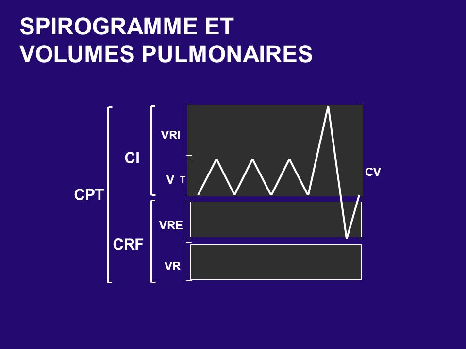 SPIROGRAMME ET VOLUMES PULMONAIRES VRI CI CV V T CPT VRE CRF VR