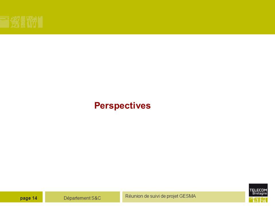 Perspectives Réunion de suivi de projet GESMA