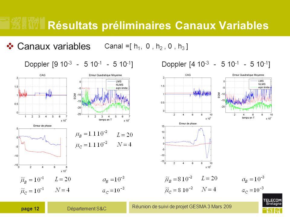 Résultats préliminaires Canaux Variables