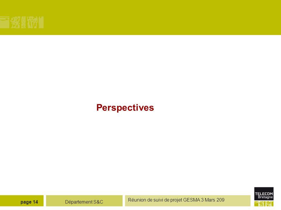 Perspectives Réunion de suivi de projet GESMA 3 Mars 209