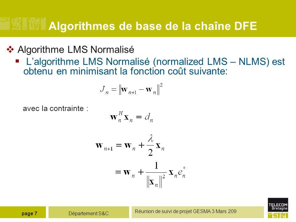 Algorithmes de base de la chaîne DFE
