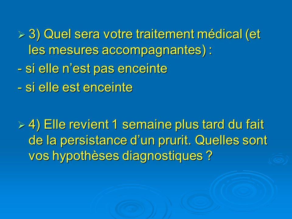 3) Quel sera votre traitement médical (et les mesures accompagnantes) :