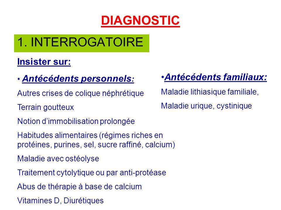 DIAGNOSTIC 1. INTERROGATOIRE Insister sur: Antécédents familiaux: