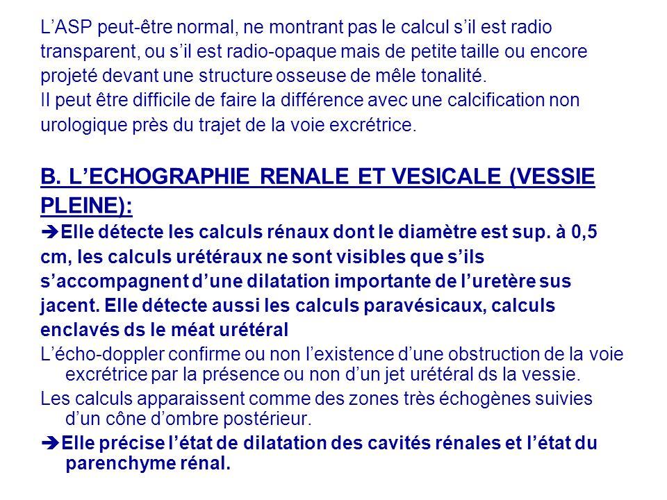 B. L'ECHOGRAPHIE RENALE ET VESICALE (VESSIE PLEINE):