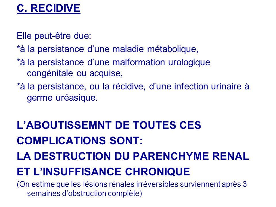 L'ABOUTISSEMNT DE TOUTES CES COMPLICATIONS SONT: