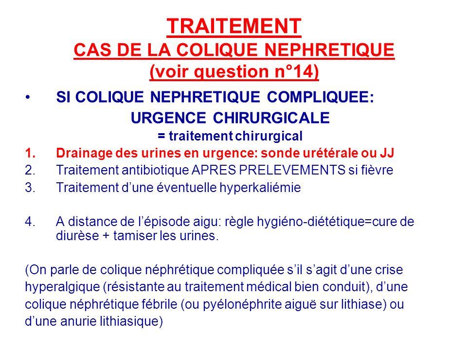 TRAITEMENT CAS DE LA COLIQUE NEPHRETIQUE (voir question n°14)