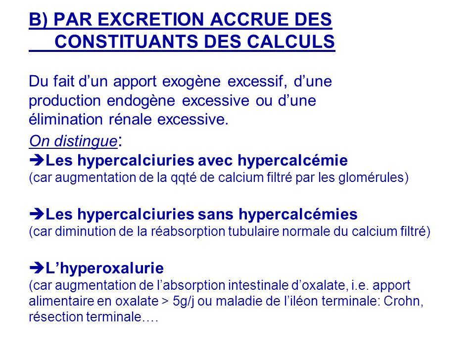 B) PAR EXCRETION ACCRUE DES CONSTITUANTS DES CALCULS