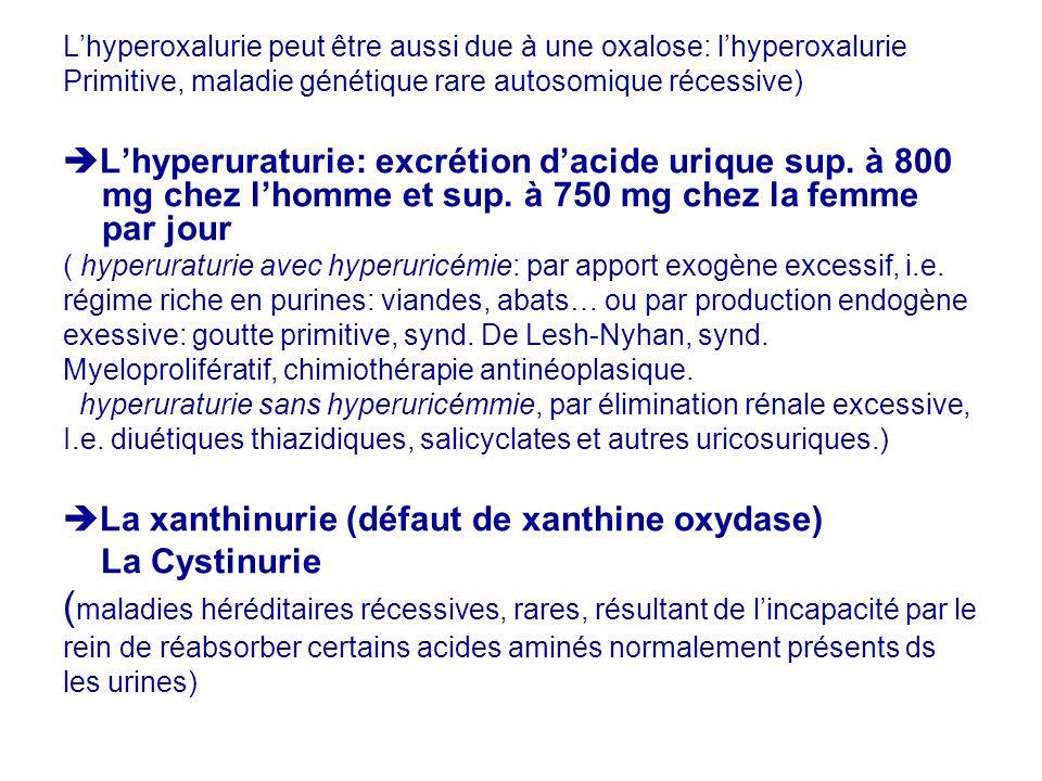 L'hyperoxalurie peut être aussi due à une oxalose: l'hyperoxalurie