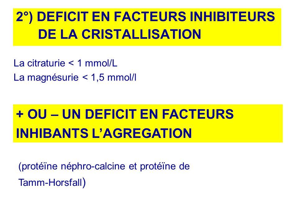 2°) DEFICIT EN FACTEURS INHIBITEURS DE LA CRISTALLISATION