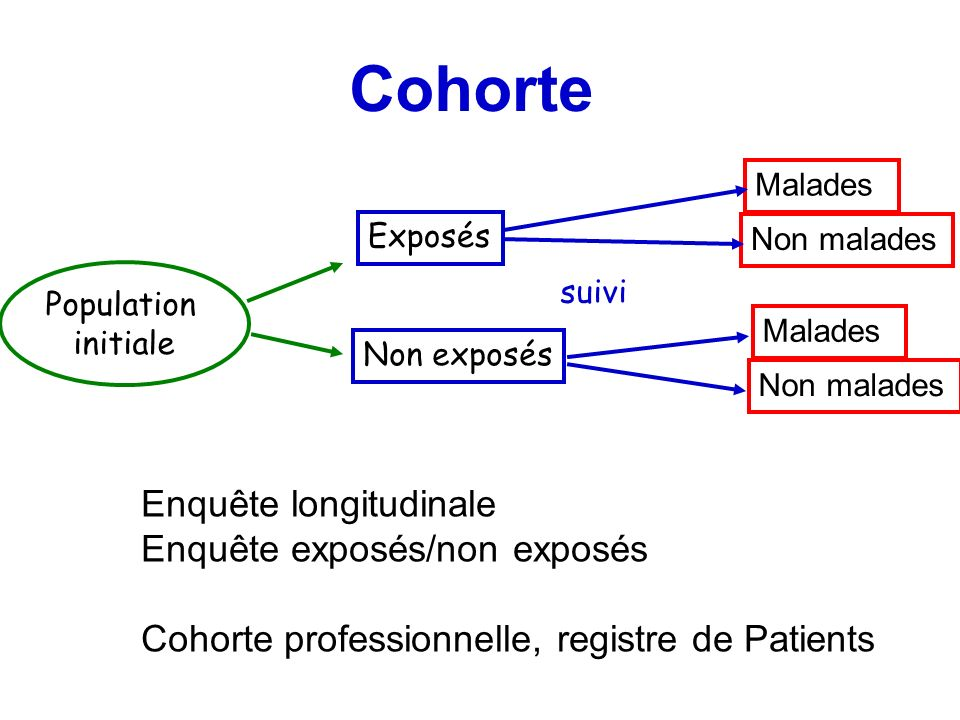 Cohorte Enquête longitudinale Enquête exposés/non exposés
