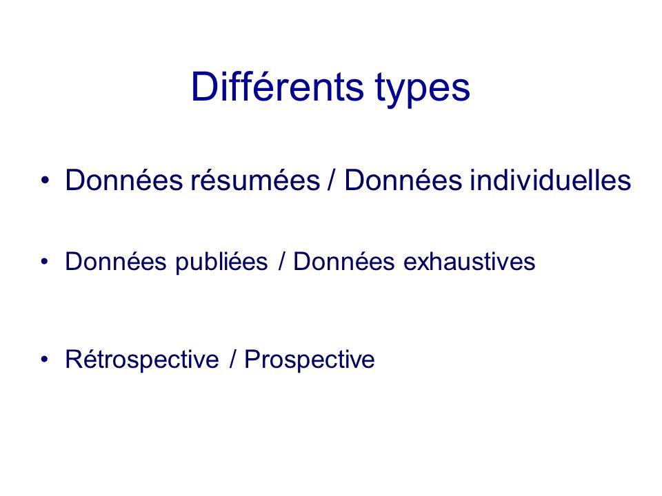 Différents types Données résumées / Données individuelles