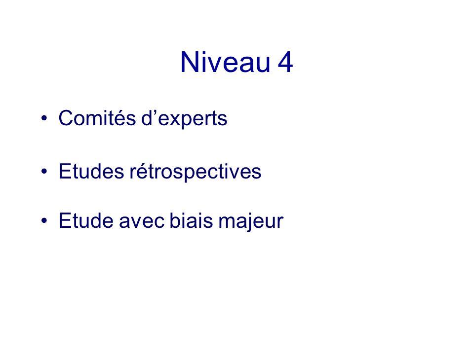 Niveau 4 Comités d'experts Etudes rétrospectives