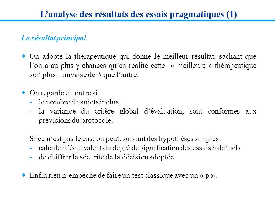 L'analyse des résultats des essais pragmatiques (1)