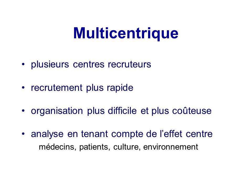 Multicentrique plusieurs centres recruteurs recrutement plus rapide
