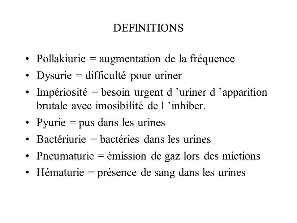 DEFINITIONS Pollakiurie = augmentation de la fréquence. Dysurie = difficulté pour uriner.