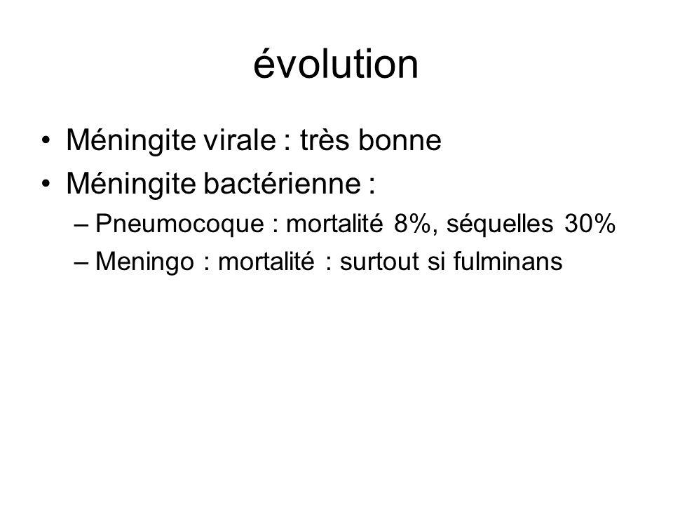 évolution Méningite virale : très bonne Méningite bactérienne :