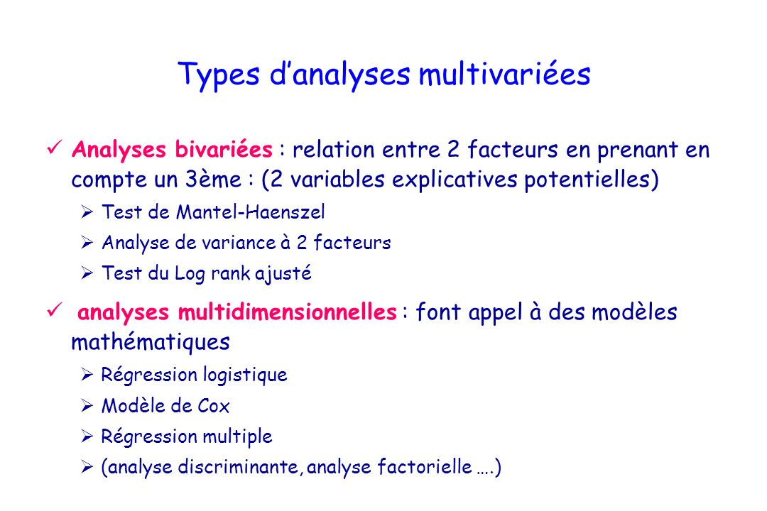 Types d'analyses multivariées