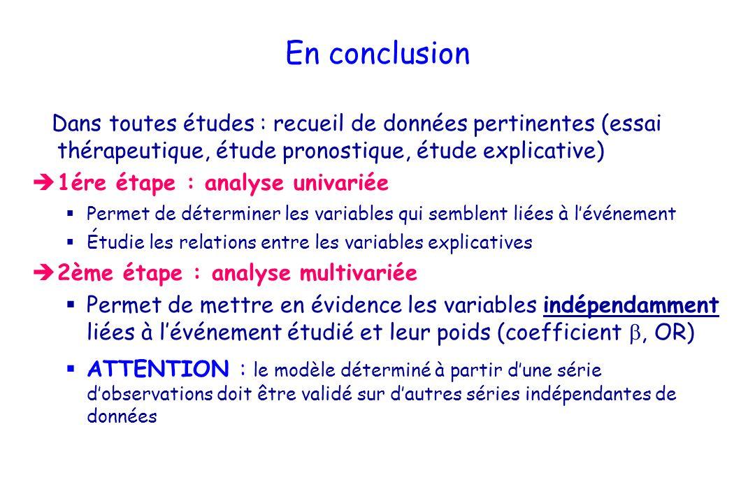 En conclusion Dans toutes études : recueil de données pertinentes (essai thérapeutique, étude pronostique, étude explicative)